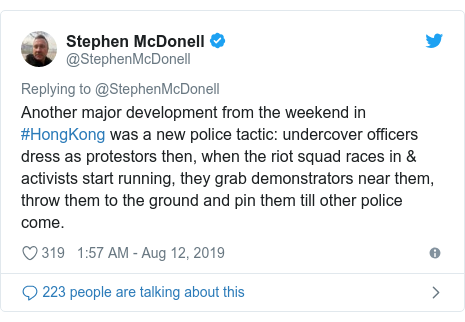 Twitter post by @StephenMcDonell: Another major development from the weekend in #HongKong was a new police tactic  undercover officers dress as protestors then, when the riot squad races in & activists start running, they grab demonstrators near them, throw them to the ground and pin them till other police come.