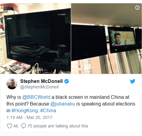 Twitter post by @StephenMcDonell: Why is @BBCWorld a black screen in mainland China at this point? Because @julianaliu is speaking about elections in #HongKong. #China