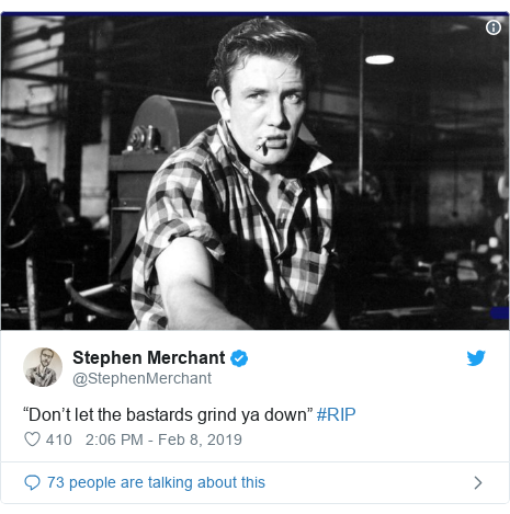 """Twitter post by @StephenMerchant: """"Don't let the bastards grind ya down"""" #RIP"""