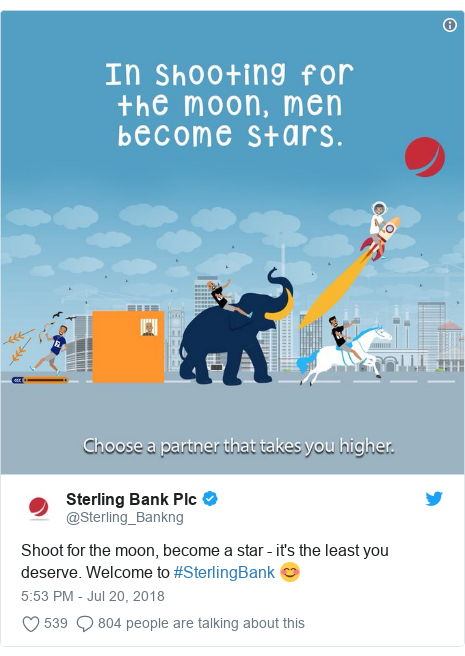 Twitter post by @Sterling_Bankng: Shoot for the moon, become a star - it's the least you deserve. Welcome to #SterlingBank 😊