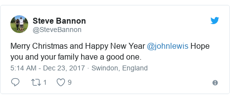 Twitter post by @SteveBannon: Merry Christmas and Happy New Year @johnlewis   Hope you and your family have a good one.