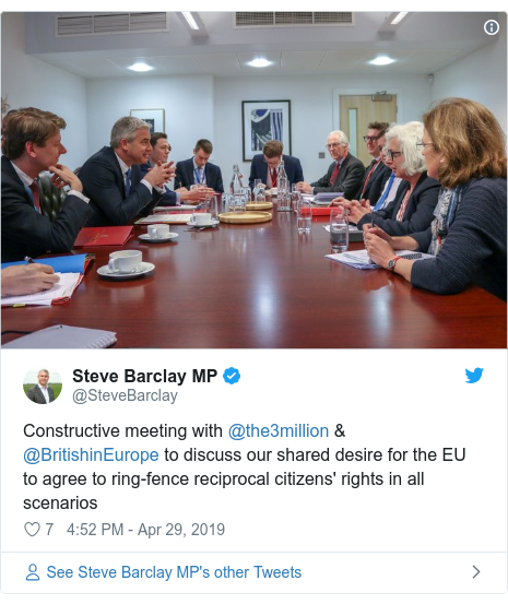 Twitter post by @SteveBarclay: Constructive meeting with @the3million & @BritishinEurope to discuss our shared desire for the EU to agree to ring-fence reciprocal citizens' rights in all scenarios
