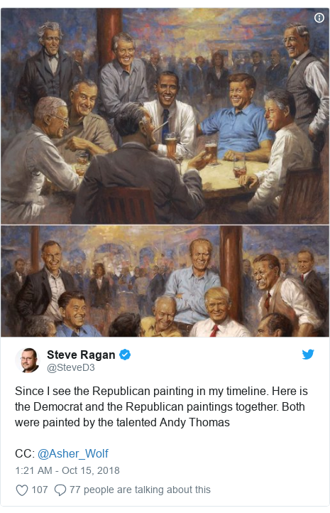 Twitter post by @SteveD3: Since I see the Republican painting in my timeline. Here is the Democrat and the Republican paintings together. Both were painted by the talented Andy Thomas CC  @Asher_Wolf