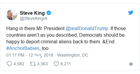 Twitter post by @SteveKingIA: Hang in there Mr. President @realDonaldTrump. If those countries aren't as you described, Democrats should be happy to deport criminal aliens back to them. &End #AnchorBabies, too.