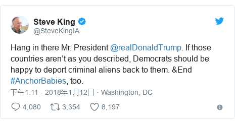 Twitter 用户名 @SteveKingIA: Hang in there Mr. President @realDonaldTrump. If those countries aren't as you described, Democrats should be happy to deport criminal aliens back to them. &End #AnchorBabies, too.