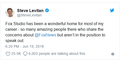Twitter post by @SteveLevitan: Fox Studio has been a wonderful home for most of my career - so many amazing people there who share the concerns about @FoxNews but aren't in the position to speak out.