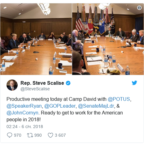 Twitter допис, автор: @SteveScalise: Productive meeting today at Camp David with @POTUS, @SpeakerRyan, @GOPLeader, @SenateMajLdr, & @JohnCornyn. Ready to get to work for the American people in 2018!