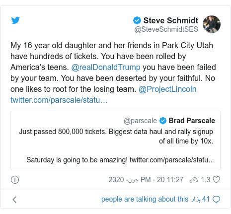 ٹوئٹر پوسٹس @SteveSchmidtSES کے حساب سے: My 16 year old daughter and her friends in Park City Utah have hundreds of tickets. You have been rolled by America's teens. @realDonaldTrump you have been failed by your team. You have been deserted by your faithful. No one likes to root for the losing team. @ProjectLincoln