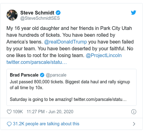 Twitter post by @SteveSchmidtSES: My 16 year old daughter and her friends in Park City Utah have hundreds of tickets. You have been rolled by America's teens. @realDonaldTrump you have been failed by your team. You have been deserted by your faithful. No one likes to root for the losing team. @ProjectLincoln