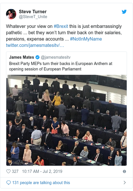 Twitter post by @SteveT_Unite: Whatever your view on #Brexit this is just embarrassingly pathetic ... bet they won't turn their back on their salaries, pensions, expense accounts ... #NotInMyName