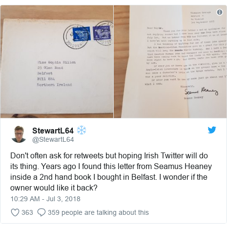 Twitter post by @StewartL64: Don't often ask for retweets but hoping Irish Twitter will do its thing. Years ago I found this letter from Seamus Heaney inside a 2nd hand book I bought in Belfast. I wonder if the owner would like it back?