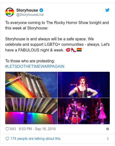 Twitter post by @StoryhouseLive: To everyone coming to The Rocky Horror Show tonight and this week at Storyhouse Storyhouse is and always will be a safe space. We celebrate and support LGBTQ+ communities - always. Let's have a FABULOUS night & week. 💋👠🏳️‍🌈To those who are protesting  #LETSDOTHETIMEWARPAGAIN