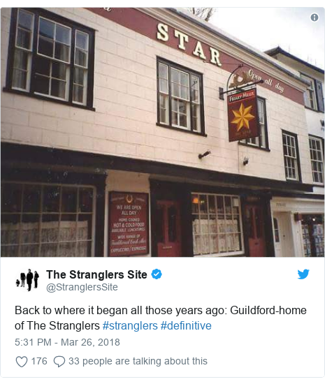 Twitter post by @StranglersSite: Back to where it began all those years ago  Guildford-home of The Stranglers #stranglers #definitive
