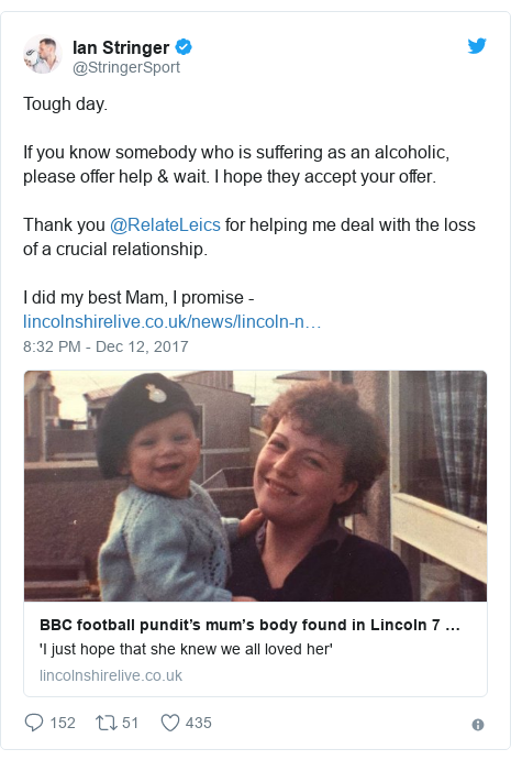 Twitter post by @StringerSport: Tough day. If you know somebody who is suffering as an alcoholic, please offer help & wait. I hope they accept your offer. Thank you @RelateLeics for helping me deal with the loss of a crucial relationship. I did my best Mam, I promise -