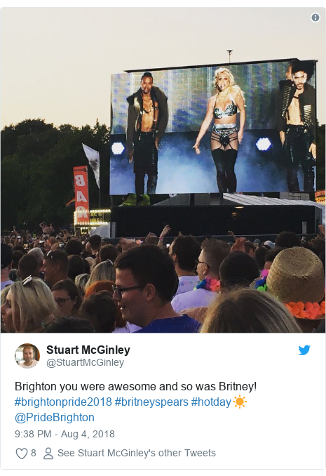 Twitter post by @StuartMcGinley: Brighton you were awesome and so was Britney! #brightonpride2018 #britneyspears #hotday☀️ @PrideBrighton