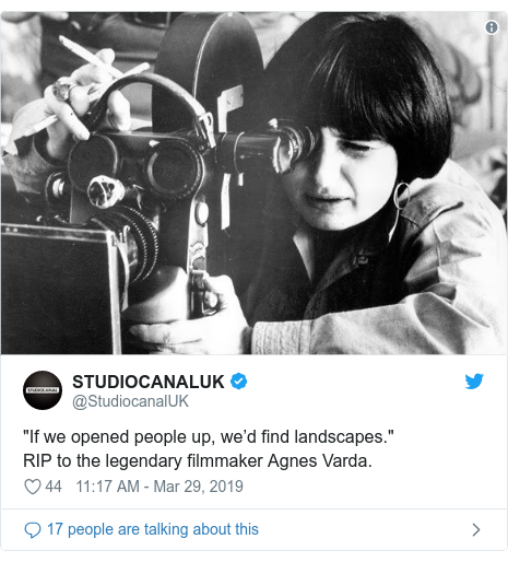 "Twitter post by @StudiocanalUK: ""If we opened people up, we'd find landscapes."" RIP to the legendary filmmaker Agnes Varda."