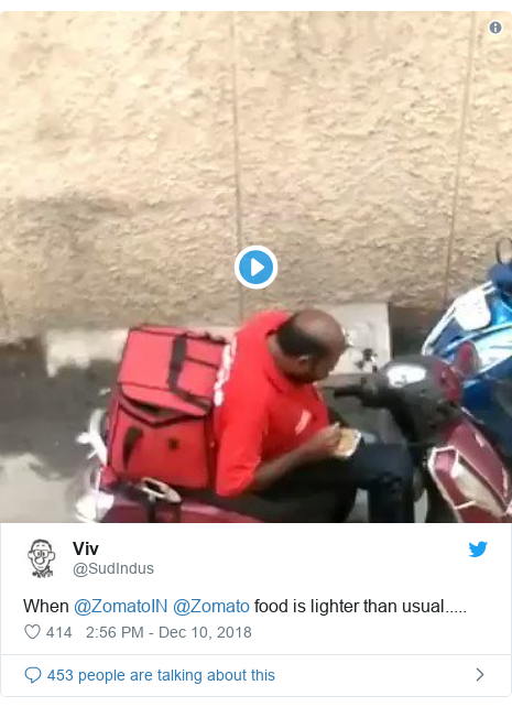 Twitter post by @SudIndus: When @ZomatoIN @Zomato food is lighter than usual.....
