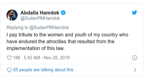 Twitter post by @SudanPMHamdok: I pay tribute to the women and youth of my country who have endured the atrocities that resulted from the implementation of this law.