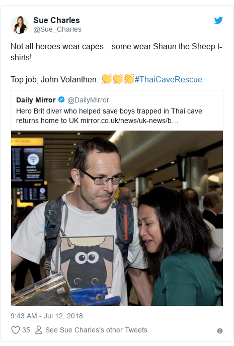 Twitter post by @Sue_Charles: Not all heroes wear capes... some wear Shaun the Sheep t-shirts!Top job, John Volanthen. 👏👏👏#ThaiCaveRescue