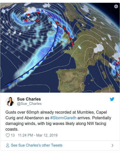 Twitter post by @Sue_Charles: Gusts over 60mph already recorded at Mumbles, Capel Curig and Aberdaron as #StormGareth arrives. Potentially damaging winds, with big waves likely along NW facing coasts.