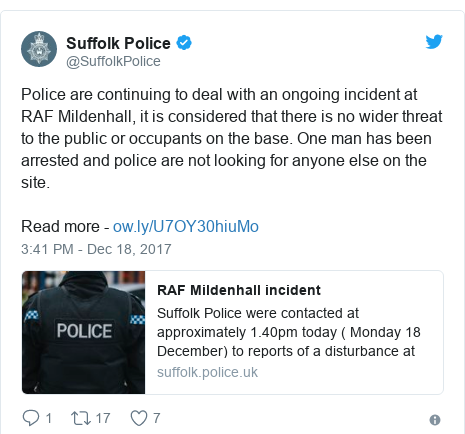 Twitter post by @SuffolkPolice: Police are continuing to deal with an ongoing incident at RAF Mildenhall, it is considered that there is no wider threat to the public or occupants on the base. One man has been arrested and police are not looking for anyone else on the site.Read more -