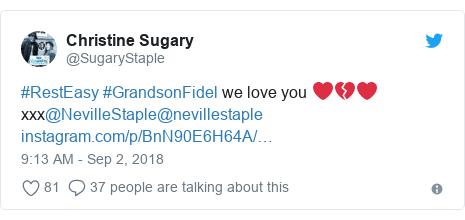 Twitter post by @SugaryStaple: #RestEasy #GrandsonFidel we love you ❤💔❤ xxx@NevilleStaple@nevillestaple
