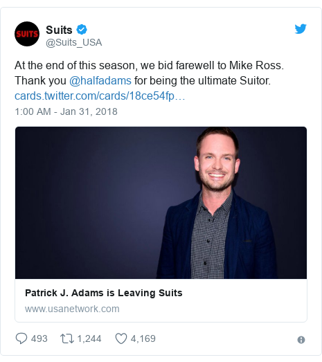 Twitter post by @Suits_USA: At the end of this season, we bid farewell to Mike Ross. Thank you @halfadams for being the ultimate Suitor.