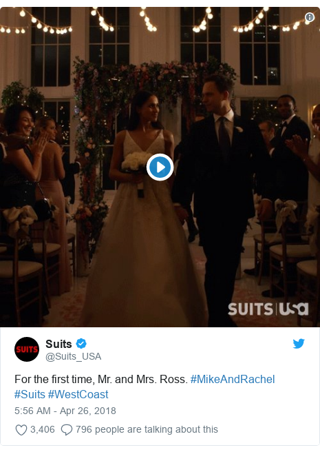 Twitter post by @Suits_USA: For the first time, Mr. and Mrs. Ross. #MikeAndRachel #Suits #WestCoast