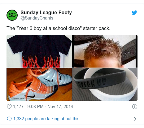 """Twitter post by @SundayChants: The """"Year 6 boy at a school disco"""" starter pack."""