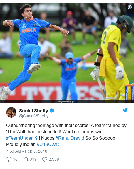 Twitter post by @SunielVShetty: Outnumbering their age with their scores! A team trained by 'The Wall' had to stand tall! What a glorious win #TeamUnder19 ! Kudos #RahulDravid So So Sooooo Proudly Indian #U19CWC