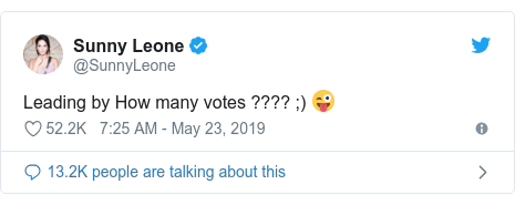 Twitter post by @SunnyLeone: Leading by How many votes ???? ;) 😜