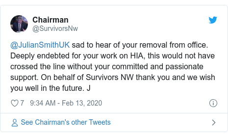 Twitter post by @SurvivorsNw: @JulianSmithUK sad to hear of your removal from office. Deeply endebted for your work on HIA, this would not have crossed the line without your committed and passionate support. On behalf of Survivors NW thank you and we wish you well in the future. J