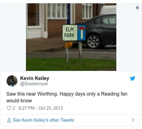 Twitter post by @Sussexroyal: Saw this near Worthing. Happy days only a Reading fan would know