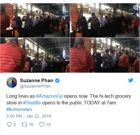Twitter post by @SuzannePhan: Long lines as #AmazonGo opens now. The hi-tech grocery store in #Seattle opens to the public TODAY at 7am. #komonews