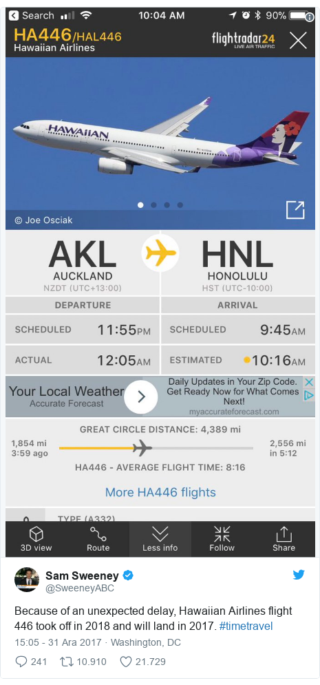 @SweeneyABC tarafından yapılan Twitter paylaşımı: Because of an unexpected delay, Hawaiian Airlines flight 446 took off in 2018 and will land in 2017. #timetravel