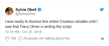 Twitter post by @SylviaObell: I was ready to dismiss this entire Clueless remake until I saw that Tracy Oliver is writing the script.