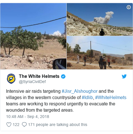 Twitter post by @SyriaCivilDef: Intensive air raids targeting #Jisr_Alshoughor and the villages in the western countryside of #Idlib, #WhiteHelmets teams are working to respond urgently to evacuate the wounded from the targeted areas.