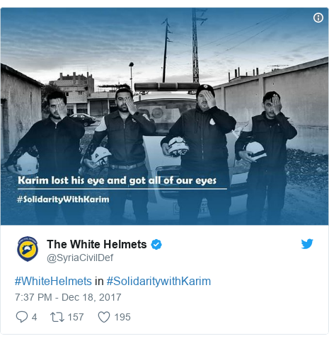 Twitter post by @SyriaCivilDef: #WhiteHelmets in #SolidaritywithKarim
