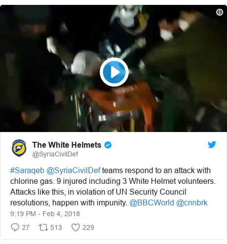 Twitter post by @SyriaCivilDef: #Saraqeb @SyriaCivilDef teams respond to an attack with chlorine gas. 9 injured including 3 White Helmet volunteers. Attacks like this, in violation of UN Security Council resolutions, happen with impunity. @BBCWorld @cnnbrk