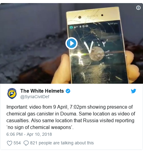 Twitter post by @SyriaCivilDef: Important  video from 9 April, 7 02pm showing presence of chemical gas canister in Douma. Same location as video of casualties. Also same location that Russia visited reporting 'no sign of chemical weapons'.