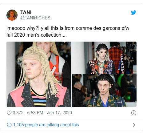 Twitter post by @TANIRICHES: lmaoooo why?! y'all this is from comme des garcons pfw fall 2020 men's collection....