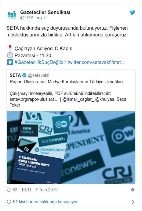 @TGS_org_tr tarafından yapılan Twitter paylaşımı: SETA hakkında suç duyurusunda bulunuyoruz. Fişlenen meslektaşlarımızla birlikte. Artık mahkemede görüşürüz.📍 Çağlayan Adliyesi C Kapısı🕦 Pazartesi - 11 30#️⃣ #GazetecilikSuçDeğildir