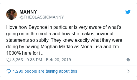 Twitter post by @THECLASSICMANNY: I love how Beyoncé in particular is very aware of what's going on in the media and how she makes powerful statements so subtly. They knew exactly what they were doing by having Meghan Markle as Mona Lisa and I'm 1000% here for it.