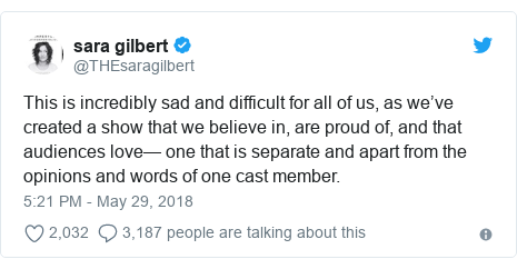 Twitter post by @THEsaragilbert: This is incredibly sad and difficult for all of us, as we've created a show that we believe in, are proud of, and that audiences love— one that is separate and apart from the opinions and words of one cast member.