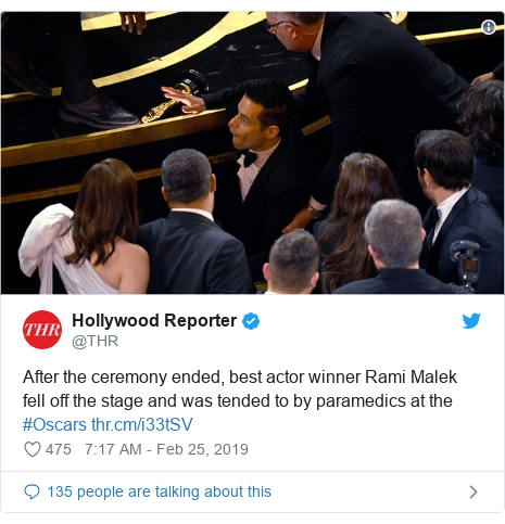 Twitter post by @THR: After the ceremony ended, best actor winner Rami Malek fell off the stage and was tended to by paramedics at the #Oscars