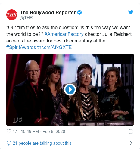"""Twitter post by @THR: """"Our film tries to ask the question  'is this the way we want the world to be?'"""" #AmericanFactory director Julia Reichert accepts the award for best documentary at the #SpiritAwards"""