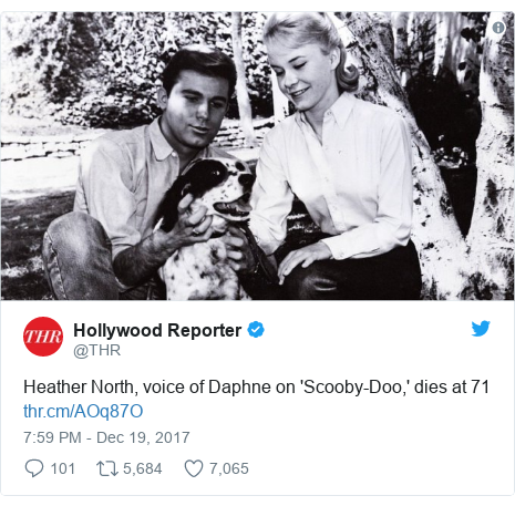 Twitter post by @THR: Heather North, voice of Daphne on 'Scooby-Doo,' dies at 71
