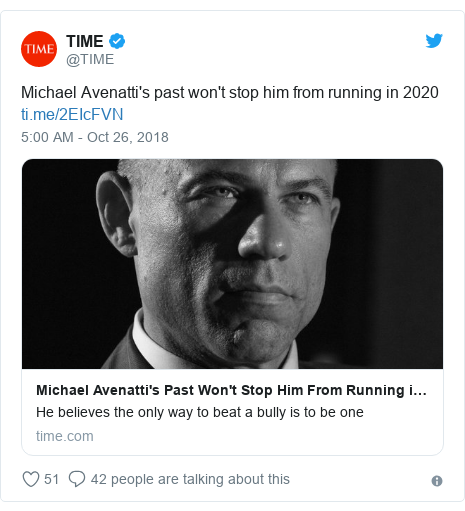 Twitter post by @TIME: Michael Avenatti's past won't stop him from running in 2020