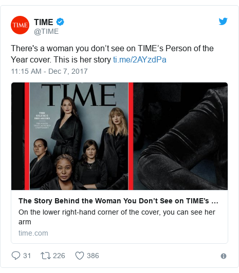 Twitter post by @TIME: There's a woman you don't see on TIME's Person of the Year cover. This is her story