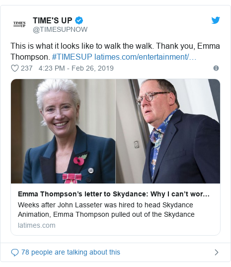 Twitter post by @TIMESUPNOW: This is what it looks like to walk the walk. Thank you, Emma Thompson. #TIMESUP